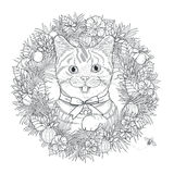 Adorable kitty coloring page Royalty Free Stock Photo