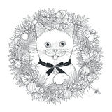 Adorable kitty coloring page Stock Photo