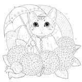 Adorable kitty coloring page Stock Image