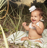 Adorable laughing baby stock images