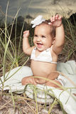 Adorable laughing baby royalty free stock photo