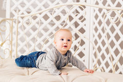 Adorable laughing baby boy in sunny bedroom. Newborn child relaxing. Family morning at home. Little kid lying on tummy stock photo