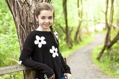 Adorable laughing child in forest Stock Images