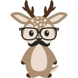 Hipster Nerdy Geeky Woodland Deer Illustration. Adorable light brown woodland deer rocking hipster nerdy geeky style with black glasses and mustache Royalty Free Stock Photography