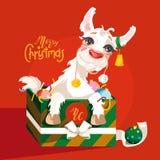 Adorable, lindo, carácter de la llama de la Navidad de la historieta ilustración del vector