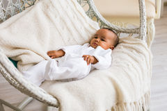 Adorable little african american baby boy laughing - Black people Stock Photography