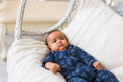 Adorable little african american baby boy looking - Black people Royalty Free Stock Photography