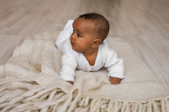 Adorable little african american baby boy looking - Black people Royalty Free Stock Photo