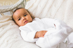 Adorable little african american baby boy looking - Black people stock photography