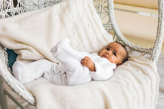 Adorable little african american baby boy smiling - Black people Stock Image