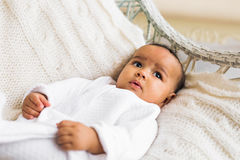 Adorable little african american baby boy smiling - Black people Stock Photo