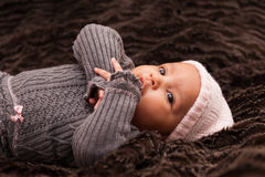 Adorable little african american baby girl Stock Photos