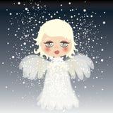 Adorable little angel on the sky stock illustration