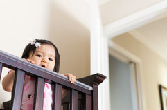 Baby girl peering out from her crib Stock Images