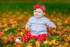 Adorable little baby girl in autumn park on sunny warm october day with oak and maple leaf. Fall foliage. Family outdoor. Fun in fall. child smiling royalty free stock photo
