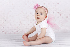 Adorable little baby girl with butterfly wings Royalty Free Stock Photo