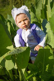 Adorable little baby girl in green grass at summer,Almaty Stock Photo