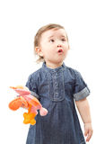 Adorable little baby girl with toy Royalty Free Stock Photography