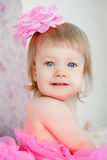 Adorable little baby in a pink dress Royalty Free Stock Images