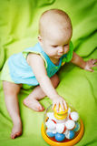 Adorable little baby playing with educational toys Royalty Free Stock Photo