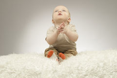 Adorable little baby sitting on the white blanket and looking up, studio shot, isolated on grey background Stock Images
