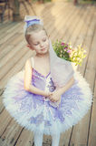 Adorable little ballerina in the autumn light Royalty Free Stock Photography