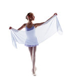 Adorable little ballerina dancing with cloth Royalty Free Stock Photo
