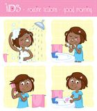 Adorable little black girl and her good morning routine actions. Daily routine - four illustrations set - washing face, washing hands, combing hair, showering stock illustration