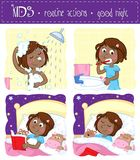 Adorable little black girl and her good night routine - showering, tooth brushing, reading bedtime story, sleeping. Sweet cartoon illustration - set of four Stock Photo