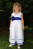 Adorable Little Blond Girl Posing in Dress Royalty Free Stock Photos