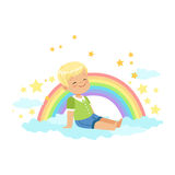 Adorable little blonde boy sitting on a cloud next to the rainbow and dreaming, kids imagination and fantasy, colorful. Character vector Illustration isolated Royalty Free Stock Photos