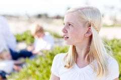 Adorable Little Blonde Girl Having Fun At the Beach Stock Photography