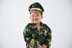 Little kid profession uniform soldier stock photography