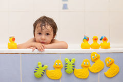Adorable little boy in bathtub with his rubber duckies Royalty Free Stock Photo