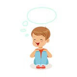 Adorable little boy dreaming with a thought bubble sitting on the floor, kids imagination and fantasy, colorful. Character vector Illustration isolated on a Stock Photo