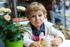 Adorable little boy eating frozen yoghurt ice cream in cafe Royalty Free Stock Photos