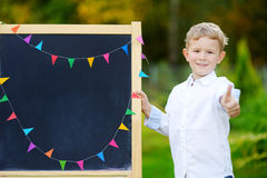 Adorable little boy feeling exited about going back to school Stock Photography