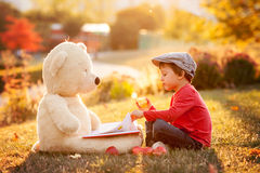 Adorable little boy with his teddy bear friend in the park on su Royalty Free Stock Photography