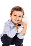 Adorable little boy holding  his favourite toy Stock Image