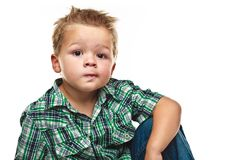 Adorable little boy looking pensive. Stock Photography