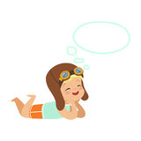 Adorable little boy in pilots helmet lying on his stomach and dreaming with a thought bubble, kids imagination and. Fantasy, colorful character vector Royalty Free Stock Photos