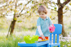 Adorable little boy playinig and painting colorful eggs Stock Image