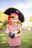 Adorable little boy pretending to be a pirate Stock Photos