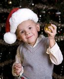 Adorable little boy in a Santa Hat Royalty Free Stock Photo