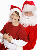 Adorable Little Boy on Santas Lap Stock Images