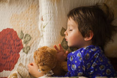 Adorable little boy, sleeping at night Royalty Free Stock Photography