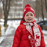 Adorable little boy in winter park Royalty Free Stock Photo