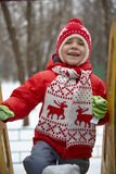 Adorable little boy in winter park Royalty Free Stock Images