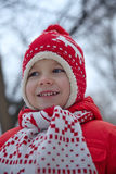 Adorable little boy in winter park Stock Images