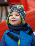 Adorable little boy in winter park Royalty Free Stock Photography